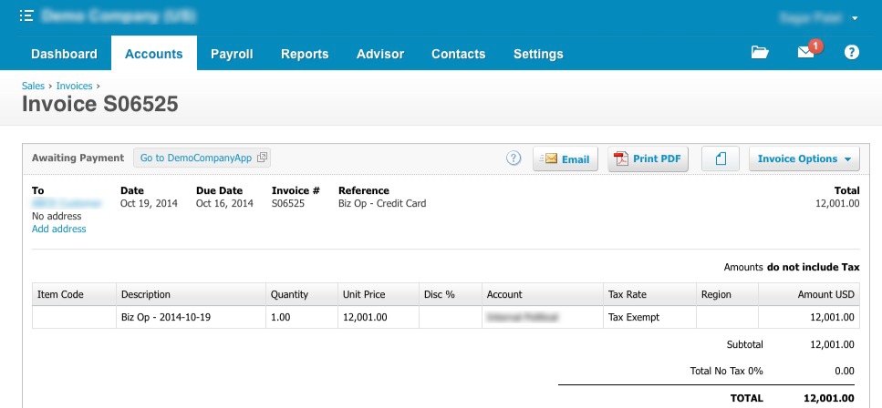 Xero-Invoice-Screenshot